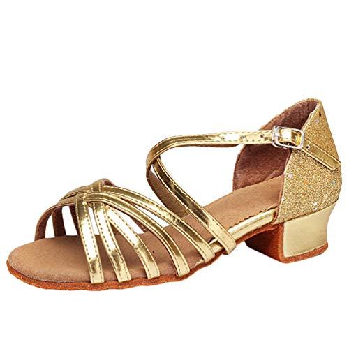LaoZan Mädchen Kleinkind Tanzschuhe Latino Absatz Schuhe für Salsa Tanzen Damen Tango Ballsaal Sandalen Schuhe (Gold#2, Größe 31)