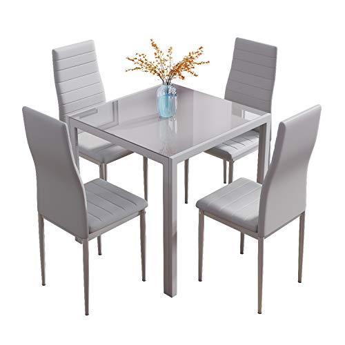 Glass Table and Chairs Set 4, 75cm Square Table with 4 Faux Leather High Back Chairs Modern Dining Room Sets for Home Kitchen Office, Grey