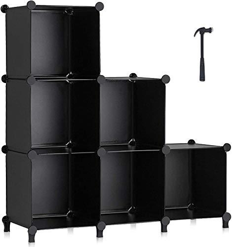 HOMIDEC 6-Cube Regalsystem, Aufbewahrungsregal Bücherregal mit Hammer, Aufbewahrungswürfel Organizer Schrank für Kinder, Schrank, Schlafzimmer, Badezimmer(schwarz)