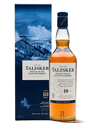 Talisker 10 Jahre Single Malt Scotch Whisky – Weicher, torfiger Whisky aus dem Norden Schottlands, 700ml