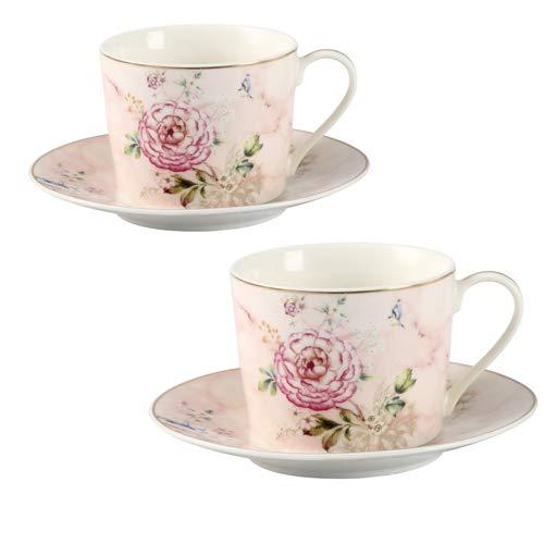 GuangYang Tazas de Porcelana Fina, Taza de té Floral de peonía y platillo, Juego de 2, 220 ml, Juego de Regalo de café