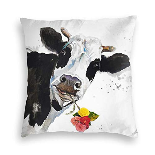 MINIOZE Watercolor Cow Flower Animal Print Velvet Soft Square Pillow Covers case Home Decor Cushion Covers Decorations Gifts Pillowcase for Indoor Sofa Bedroom Car 18 X 18 Inch