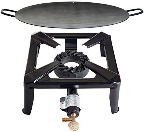 Paella World International Gaskocher Hockerkocher-Set mit Eisenwok, Mehrfarbig, 2-teilig