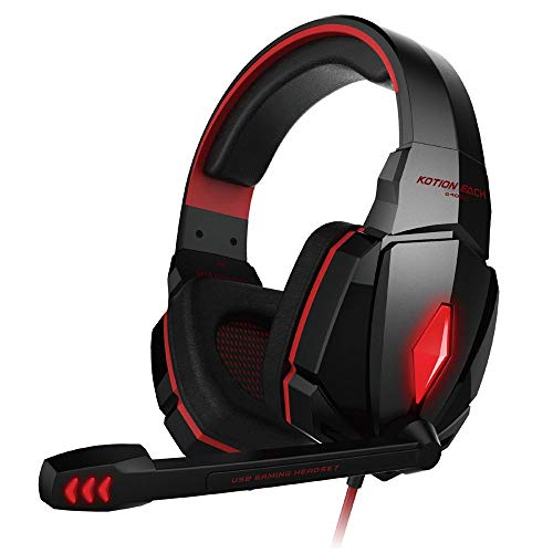 G2000 Computer Stereo Gaming Headphones Best Casque Deep Bass Game Earphone Headset with Mic LED Light for PC Gamer (G4000 red)