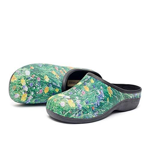 Womens Comfortable Slip On Garden Clogs Shoes, Meadow Garden, UK 7