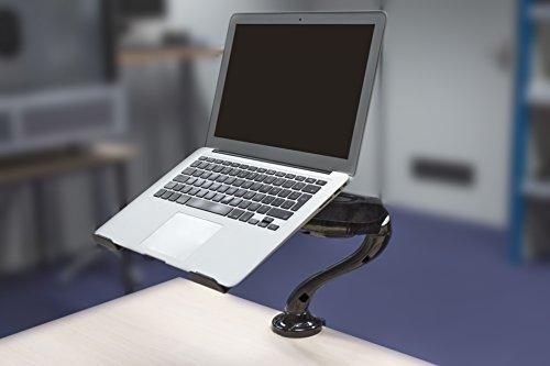 Eurosell Design Notebook Laptop Ständer Arm - Gelenk schwenbar 360° Rotation - Gasfeder System - Laptop Halterung - für Notebooks Tablet iPad MacBook etc. - Tischhalterung Tisch Halter Schreibtisch