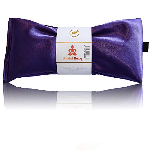 Blissful Being Lavender Eye Pillow - Hot or Cold Weighted Satin Eye Mask perfect for Sleeping, Yoga, Meditation - Gifts for Women, Birthday, Teachers - Natural Herbal Relaxation (Amethyst)