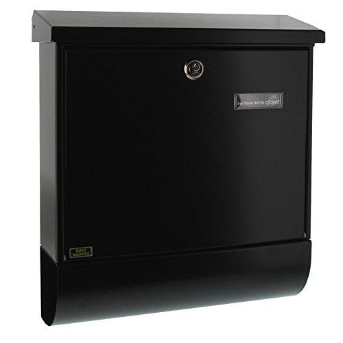 BURG-WÄCHTER Briefkasten mit Zeitungsfach und Namensschild, Verzinkter Stahl, Einwurf-Format DIN C4, Inkl. 2 Schlüssel, Set Vario S, Schwarz (ähnlich RAL 9005)