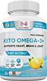 Keto Omega 3 Fish Oil - Lemon Flavor - All Natural - Max Strength Fast Acting - EPA DHA Fish Oil Omega 3 Supplement for Women & Men - Supports Heart, Brain and Joint Health - Non GMO - 60 Servings