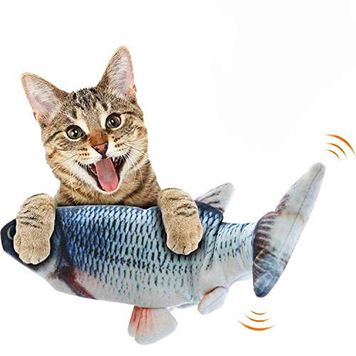 Automoness Katzenminze Fischspielzeug für Katzen,30 cm Realistisches Plüsch Elektrisches Wagging Fischspielzeug Kausimulation Lustiges interaktives Spielzeug