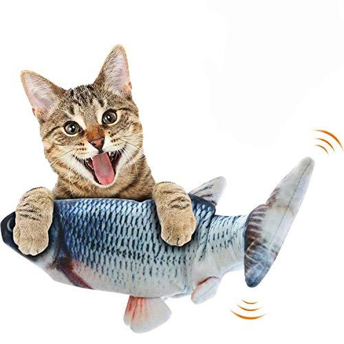 Automoness Giocattolo di Pesce Gatto in Movimento Elettrico, Pesce floccaggio Realistico, Giocattolo di Gattino di Movimento, Giocattoli di Gatto interattivi di Peluche