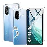 Fitudoos per Xiaomi Poco F3 [2 Pezzi] Vetro Temperato, [2 Pezzi] Protezione Lente Pellicola Posteriore+[1 Pezzi] Ultra Sottile Morbido TPU Trasparente Silicone Protettiva Cover.