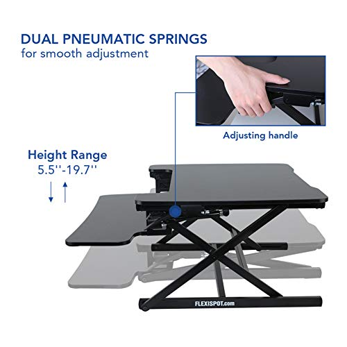 FLEXISPOT Height Adjustable Standing Desk Converter | 35 inch Stand Up Desk Riser, Black Home Office Desk Workstation for Dual Monitors and Laptop (M8MB)