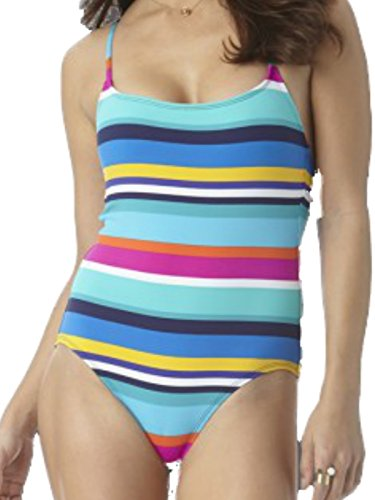 Anne Cole Multi Rugby Stripe X-Back Lingerie One Piece Swimsuit Size 8