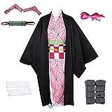 Nobrand 2020 Anime Demon Slayer Kimetsu no Yaiba Kamado Nezuko Kimono Cosplay Disfraz Pelucas Zuecos para Mujeres niñas
