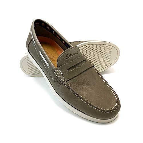 ZAPATISIMOS - Nauticos para Hombre de Piel con Antifaz Vestir Casual Zapatos Caminar Cómodo Casual Moda Aire Libre