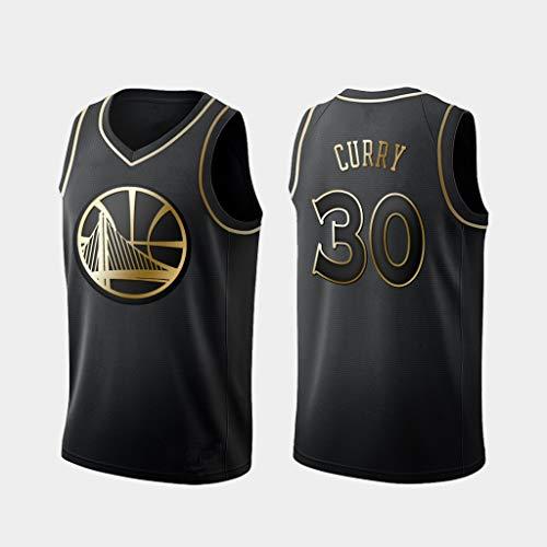 D&L Herren Trikots - NBA Golden State Warriors # 30 Stephen Curry Mesh-Basketball Jersey Swingman Auflage Unisex Ärmel T-Shirt (Color : Gold, Size : L (180cm/75-85kg))