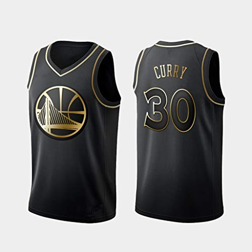 D&L Herren Trikots - NBA Golden State Warriors # 30 Stephen Curry Mesh-Basketball Jersey Swingman Auflage Unisex Ärmel T-Shirt (Color : Gold, Size : L (180cm/75-85kg))