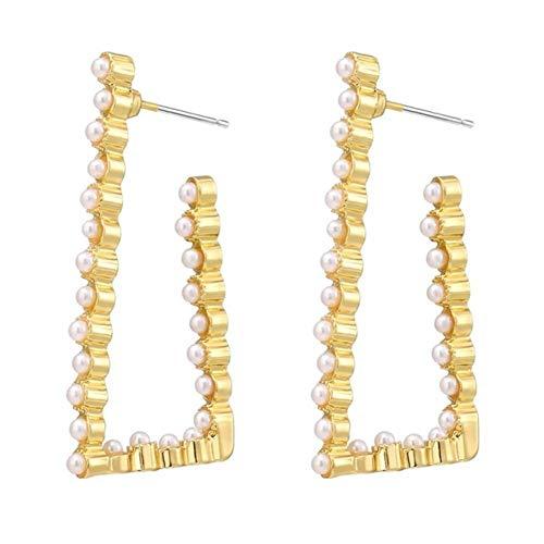 Elegantes pendientes de perlas con incrustaciones de metal de celebridades para mujer, joyería de moda 2020, nuevos pendientes inusuales de lujo para fiestas de bodas para niñas-IFK0763