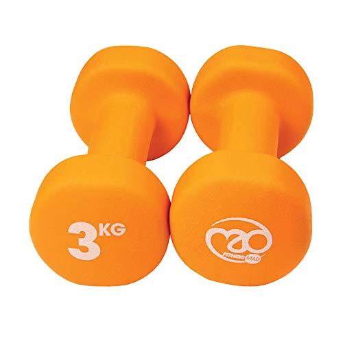 Fitness Mad Neo - Set de 2 Mancuernas / pesas de 3kg/u, color naranaja