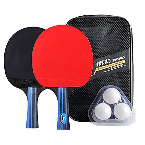 TOYANDONA 1 Juego de Palas de Pong Juego de Raqueta de Tenis de Mesa con 2 Raquetas 3 Bolas Y Caja Portátil Profesional de Padel de Pong para Jugar Al Aire Libre (Multicolor)