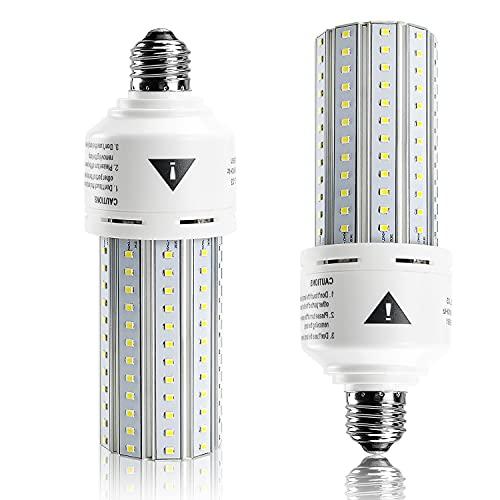 2 Pack Led Light Bulbs 7500 Lm 500W Equivalent Super Bright 5000K Daylight White Led Bulbs E26/E27 Medium Base Led Corn Light Bulb for Outdoor Indoor Garage Warehouse Factory Workshop Street Backyard