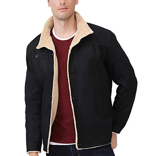 CAMEL Men Fleece Lined Jacket Warm Sherpa Winter Botton Down Borg Collar Coat With Fur Fashion Denim Trucker Outwear