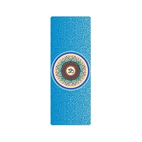 JINMENHUO Esteras de Yoga de Caucho Natural Mantas de Pilates Plegables portátiles para Mujer Impresión de Gamuza Yoga Profesional antideslizante183 * 68CM * 1MM, Gris