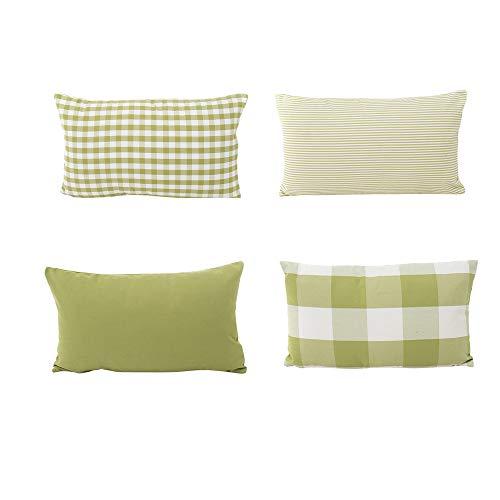 Fossrn 4pc/ Conjunto Funda Cojin 30 x 50 Moderno Cuadros Funda de almohada para Sofa Jardin Cama Decoracion (Verde)