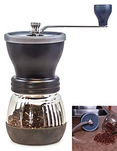 Handmatige koffiemolen met conische keramische braam - omdat handgegronde koffiebonen het beste smaken, oneindig instelbaar slijpen, glazen pot, roestvrij staal gemaakt om duurzaam, stil en draagbaar