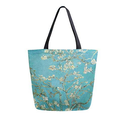 Van Gogh Mandelblüten Damen Einkaufstasche aus Segeltuch Handtaschen für Bücher, DIY Handwerk Lunch Bag Geschenk Taschen für Lehrer Student Mutter Strand Party Schule Büro
