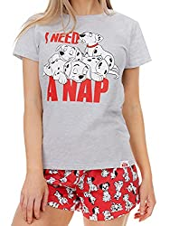 Womens 101 Dalmatian pyjamas. Go dotty for a nap with these adorable 101 Dalmatian PJs even Cruella De Vil would love! These short jammies in red and grey feature Pongo and Peredita's pups snoozing on the top, paired with red shorts that have a motif...