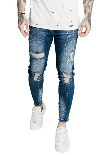 Sik Silk Jeans Herren Distressed Skinny RIOT WASH Denims SS-17580 Raw Blue Blau, Größe:S