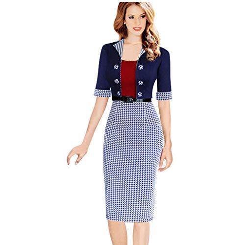 Damen Kleid Uniformkleider Formelle Kleidung Kniekleider Pencil Kleid Hahnentritt Abendkleider Nähen 1/2 Ärmel Knopf Gürtel Revers-Ausschnitt Taille Party Freizeit Cocktail (XL, Blau)