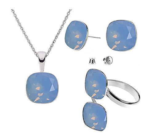Beforya Paris – Juego de pendientes de plata 925 con diseño de cuadrados – Air Blue Opal – Juego de pendientes con collar y anillo doble de Swarovski – Joyas con caja de regalo gratis