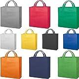 STAMPATEK 100 Borse Shopper Personalizzate con Logo Personalizzabile con Scritte Slogan per la Spesa Riutilizzabile in TNT Modello Perla 100 Stampa Logo a 1 Colore