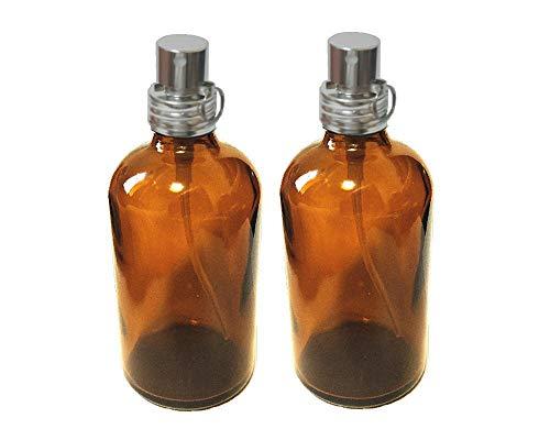 NOTO 日本国産のガラスボトル2本 イタリア産スプレーノズルセットアトマイザー 空ボトル容器 (茶色2本アルミキャップ/100ml)