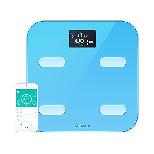 YUNMAI Escala corporal inteligentel-Báscula de baño Bluetooth con 10 estatus corporal (incluyendo grasa corporal), Aplicación gratuita (iOS y Android),Azul