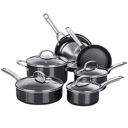 HITECLIFE Antihaft-Töpfe und Pfannen Set, Induktionskochgeschirr-Sets 10-teilig, chemikalienfreies Küchen-Kochset, Stielkasserolle, Bratpfanne, Sautepfanne, Suppentopf