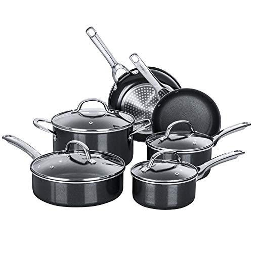 Nonstick Pots and Pans Set, Induction Cookware Sets 10 pieces, Chemical-Free Kitchen Cooking Set, Saucepan, Frying Pan, Skillet, Saute Pan, Stock Pot, Oven & Dishwasher Safe, Black-HITECLIFE