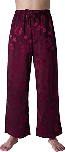 Jeansian Hommes Casual Chinese Kungfu Traditional Tang Pant Cardigan Tops Long Training Pants LSS851 WineRed XXL