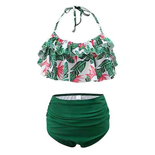Women Two Piece Swimsuit Halter Ruffled Flouce Bathing Suit High Waist Bikini Swimwear (Leaves, S)