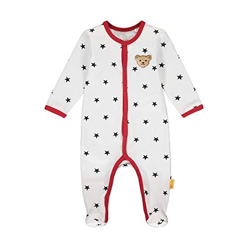 Steiff Baby-Jungen mit süßer Teddybärapplikation Strampler, Weiß (Bright White 1000), 080