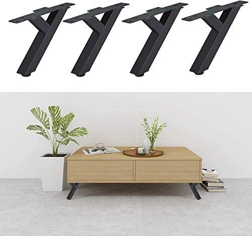 Lot de 4 pieds de meubles en fer - Pieds de canapé - Pieds de table en métal - Pour table basse - Pieds coniques obliques