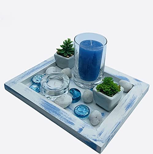 Centro de Mesa Madera Decorativo Moderno Estilo Vintage Ideal para Decorar Diferentes Espacios. (Azul Vintage) ✅