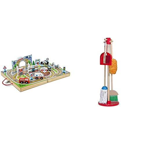 of toy broom and mops Melissa & Doug Take-Along Town & Dust! Sweep! Mop! (Frustration Free Packaging),Multicolor