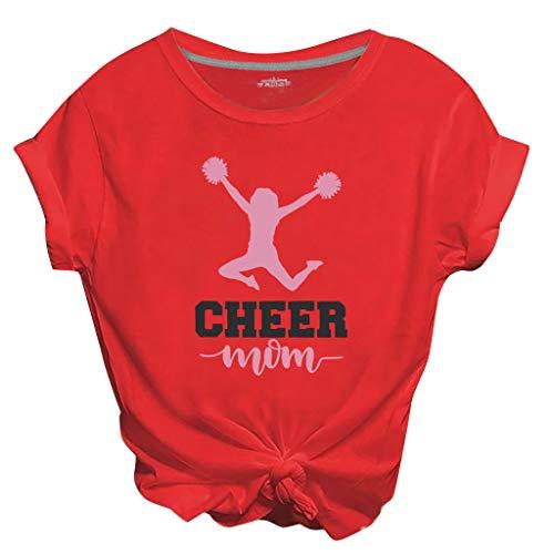 ZHANSANFM Damen T-Shirts Bauchfrei Oberteile Teenager Mädchen T-Shirts Kurzarm Rundhals Tops Cheer Mom Bedruckte Tshirts (L, rot)
