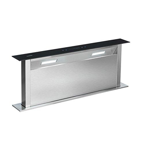 Klarstein Royal Flush - Downdraft, ausfahrbare Dunstabzugshaube, Tisch-Abzugshaube, 540 m³/h, Edelstahl, Glas, Tischmontage, 4 Leistungsstufen, Beleuchtung, Timer, 90 cm breit, schwarz