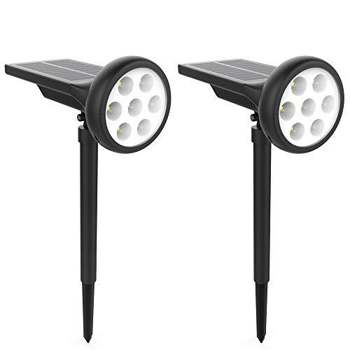 Solar Landscape Lights 2 Pack Super Bright 400 Lumens 3000K/6000K Waterproof 7 LED Spotlights Auto On/Off Outdoor Solar Lights for Garden Driveway Porch Yard Walkway Patio Pool Garage