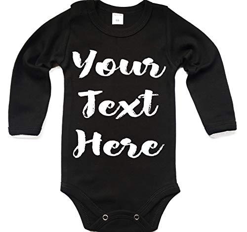 Ihr WunschText Hier Baby Langarm Body Selbst Gestalten Dein individueller Druck Personalisiert Babykleidung Strampler Unterwäsche Geschenk Überraschung Geburtstag Weihnachten (62 (0-3 m), schwarz)